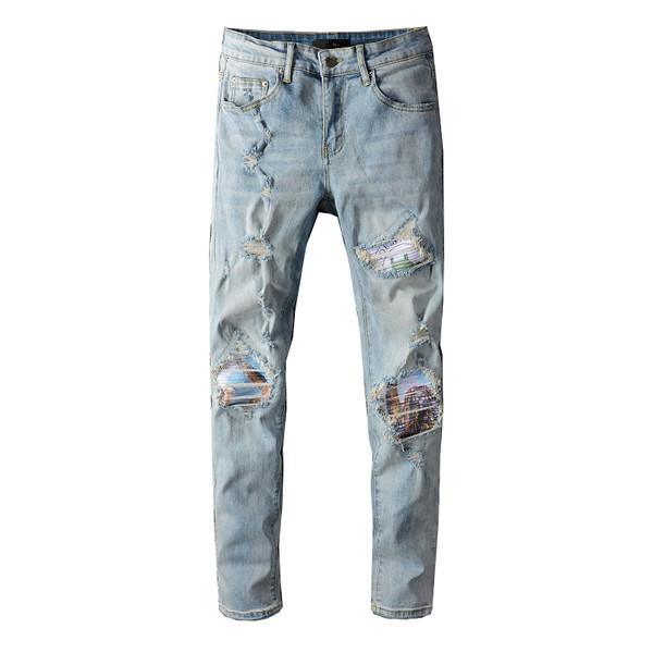 Дизайнер мужские джинсы сплошные классические прямые тонкие джинсы мотоциклетные джинсовые джинсы для мужчин мода дизайнер хип-хоп мужчины джинсы нас размером 29-40