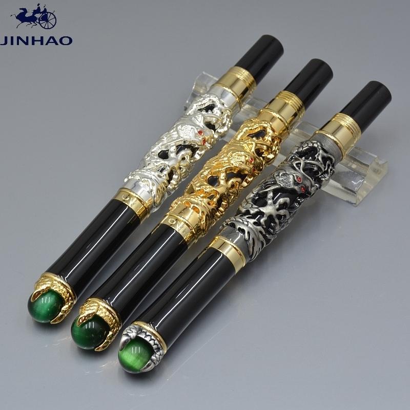 الفاخرة jinhao ماركة القلم الأسود الذهبي الفضة التنين النقش rollerball القلم جودة عالية مكتب اللوازم المدرسية الكتابة بخيارات سلسة