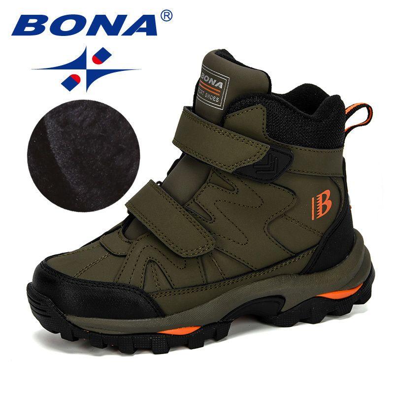 Bona Nova Popular Estilo Inverno Botas de Neve Inverno Meninos Meninas Moda Impermeável Sapatos Quentes Crianças Espessas Mid Non-Slip Boots 201023
