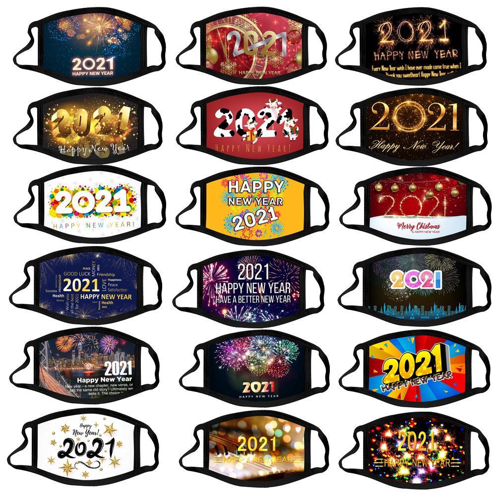 2021 С новым годом Дизайнерская Маска для лица Chrismas Party Masks Мойка Воспроизводимая Маска для лица Цифровая Печатная защита Хлопок Мужчины Женщины Маски