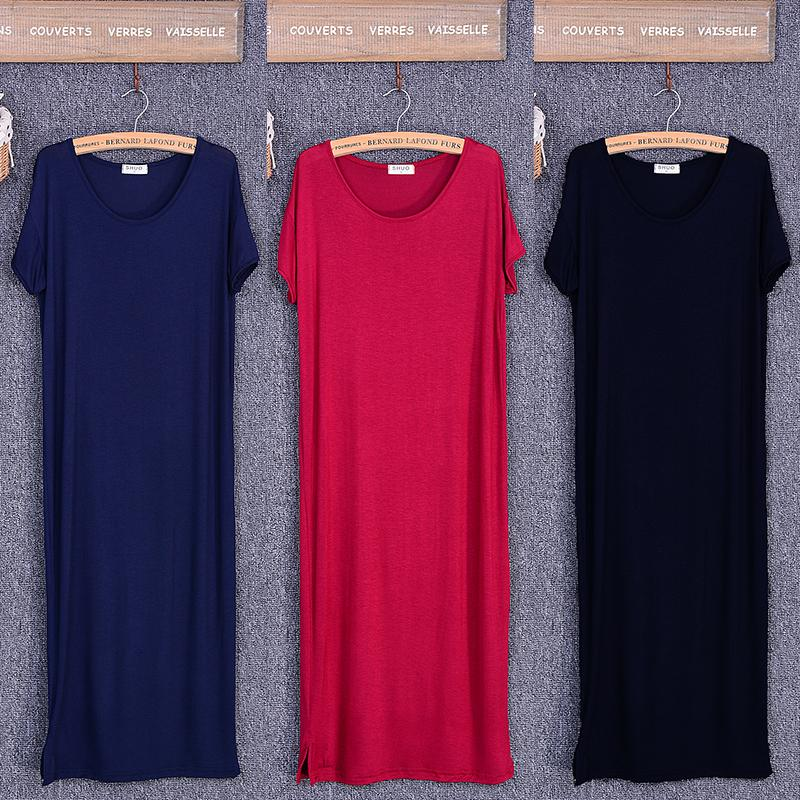 2020 Summer Black Dress Women O-neck Knee-Length Short Sleeve Solid Side Cut Casual Modal Cotton Home Dresses Size S M L XL Y0118
