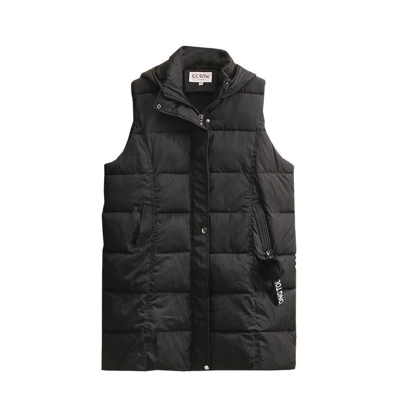 Kış Kadın Yelek Ceket Boy Yastıklı Ceket Hairball Dekorasyon Aşağı Pamuk Sıcak Dış Giyim Moda Rahat Gevşek Giysiler 2021