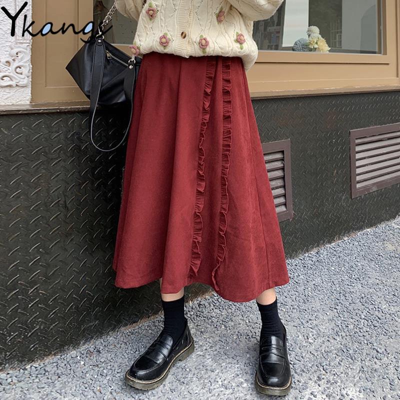 Старинные ведуры высокие талии женщины зима теплые черные длинные 2020 корейский стиль Harajuku плюс размер рваные плиссированные юбка Q1229