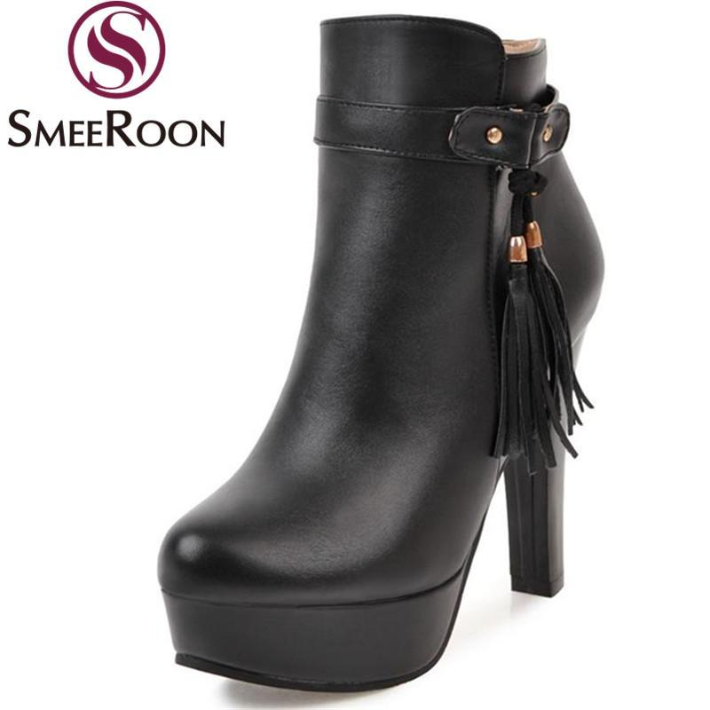 Сапоги SmeRoon Ankle Элегантная кисточка Женская обувь Свадьба Зимняя боковая молния платформа большой размер 34-43
