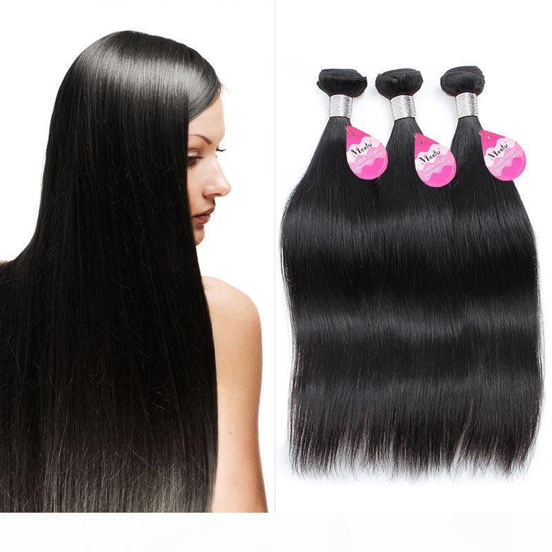 10A Brezilyalı Bakire Remy Saç Düz 3 adet İşlenmemiş Brezilyalı İpeksi Düz İnsan Saç Dokuma Demetleri Doğal Siyah Çift Atkı
