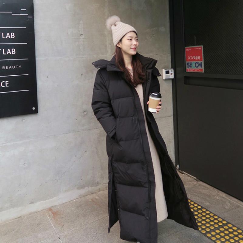 Женский горячий пуховик вниз черноморская куртка длинная секция плюс размер зимнего пальто Plumifero Mujer