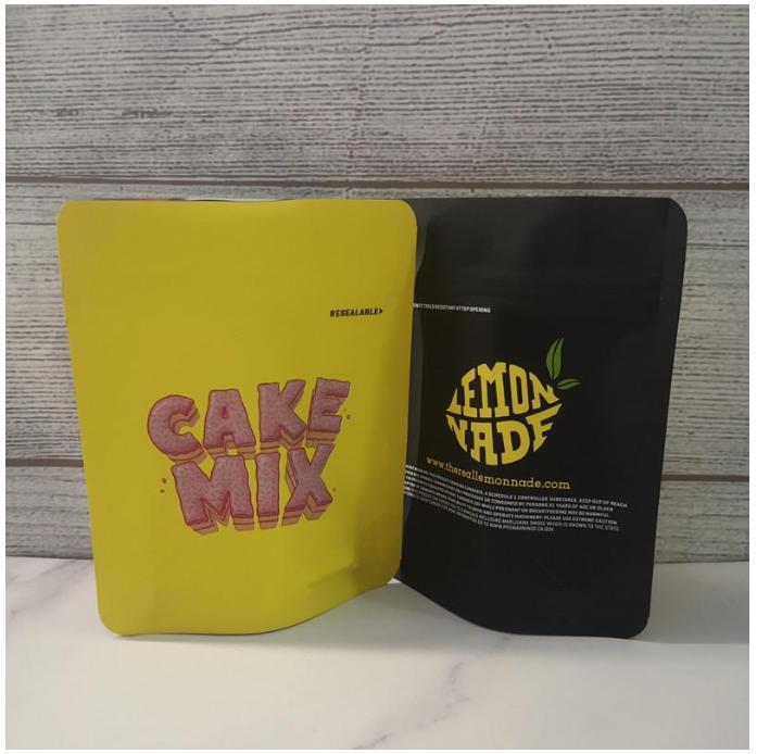 Новая сенсорная кожа 14 типов печенье California SF 3.5G Mylar Bags Snowman Blanco Lemonnade Cake Mix Snowman Cookies Bag 1/8 Baujre