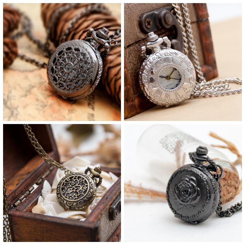 White Steel Roman Word Pocket Watch Reloj de cuarzo 27mm Collar Accesorios vintage Venta al por mayor Versión coreana Suéter Cadena Reloj de moda Colgando W