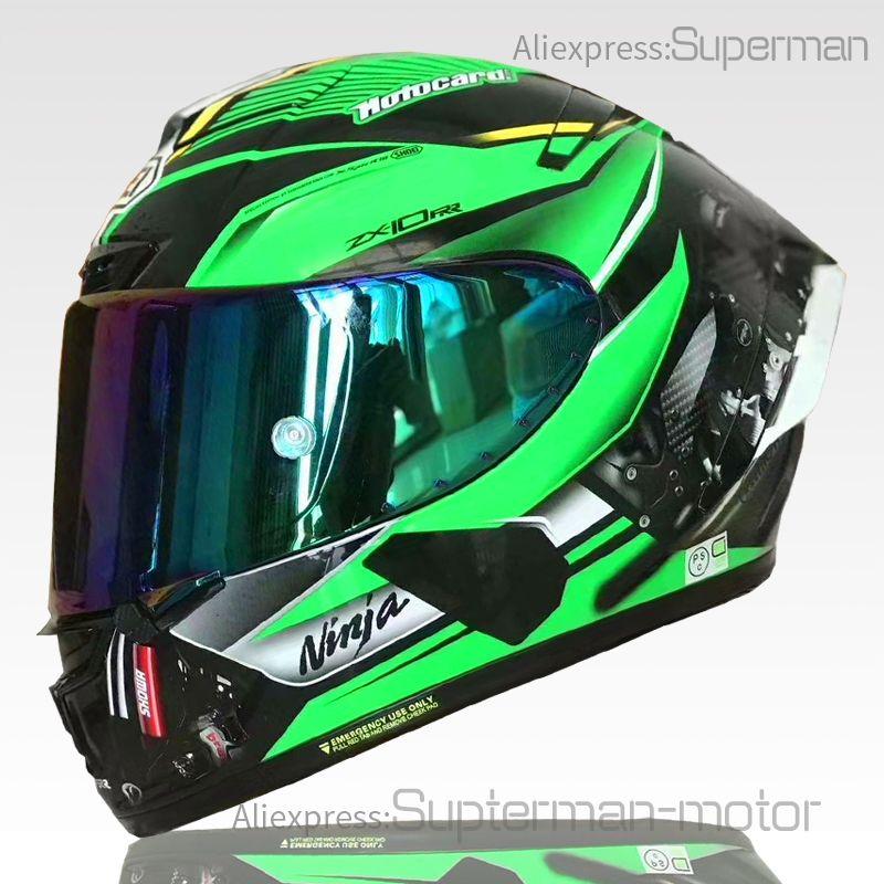 Full Face Shoei X14 Kawasa KKI Casco de motocicleta verde Anti-niebla Visera Hombre Montar coche Motocross Racing Motocrike Casco-Not-Original-Casco