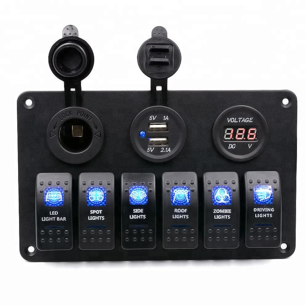 6 Gang Impermeabile Auto Auto Boat Pannello interruttore marino con VoltMeter Dual USB Blu LED Light 5 Pin On / Off Switch Rocker CS-441A1