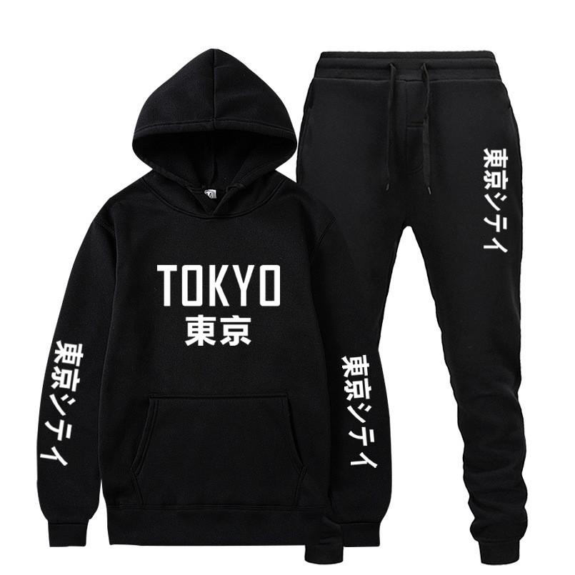 Set de 2 pièces Sweats Sweats Sweats Pak Harajuku Tokyo Print Training Former Hommes Femmes Casual Sweat-shirt Fleece Broek Jogging Trui