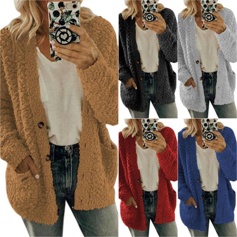 510Colour S-5XL 여자의 긴 소매 양털 솜 카디건 스웨터 포켓 코트 자켓 22606643557015을 대형