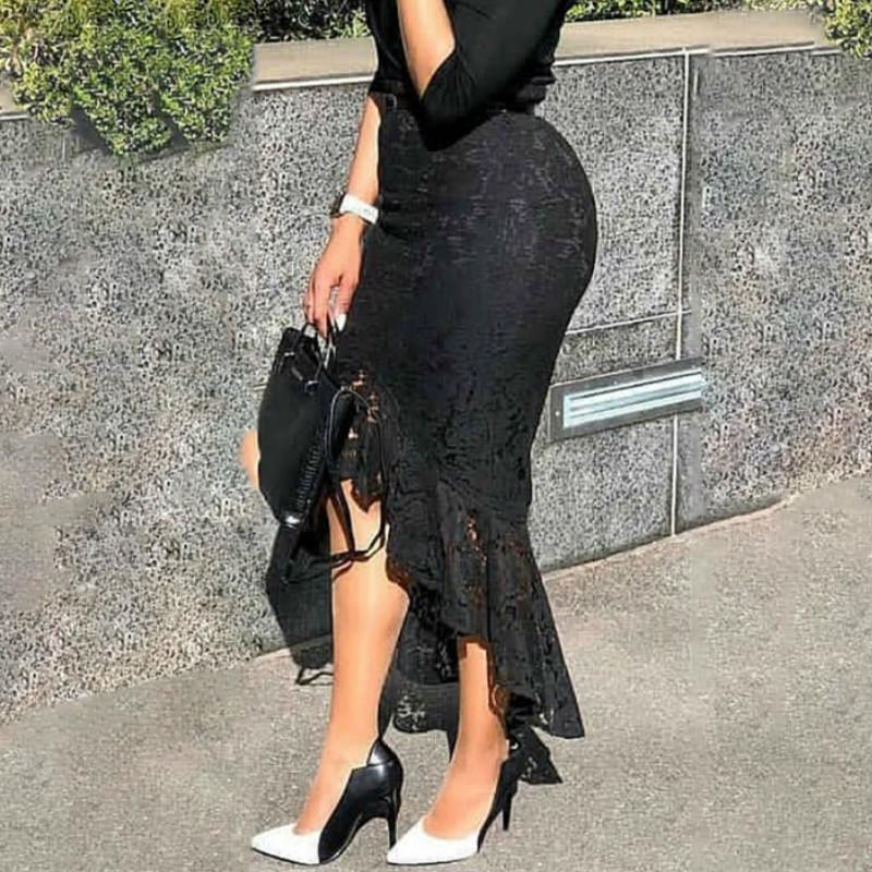 Mujeres Black Edge Humo Alto Cola Slim Midi Classy Longitud Irregular Paquete Mujer Hombre Hip Jupes Falad Oficina Modo elegante