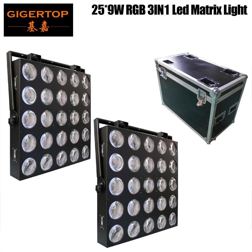 Freeshipping 2in1 Flightcase Pack 25x9W RGB 3In1 LED-scenmatrislampa 84/75/30/6 DMX kanaler 1 års garanti Kina LED-scen