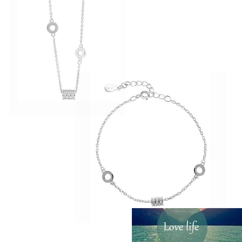 Zierliche S925 Stempel Silber Farbe Micro Pave Zirkon Zylinder Halskette + Armband Schmuck Sets für Frauen