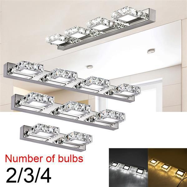 6 W Çift Lamba Kristal Yüzey Banyo Yatak Odası Lamba Beyaz Işık Gümüş Nodik Sanat Dekor Aydınlatma Modern Su Geçirmez Ayna Duvar İndirim