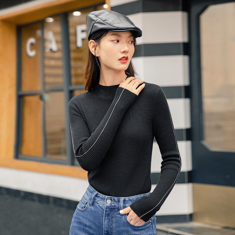 Inman 2020 Kış Yeni Gelenler İç Yarım Yüksek Boyun Ince Snug Hooded Uzun Kollu Yün Kadın Kazak