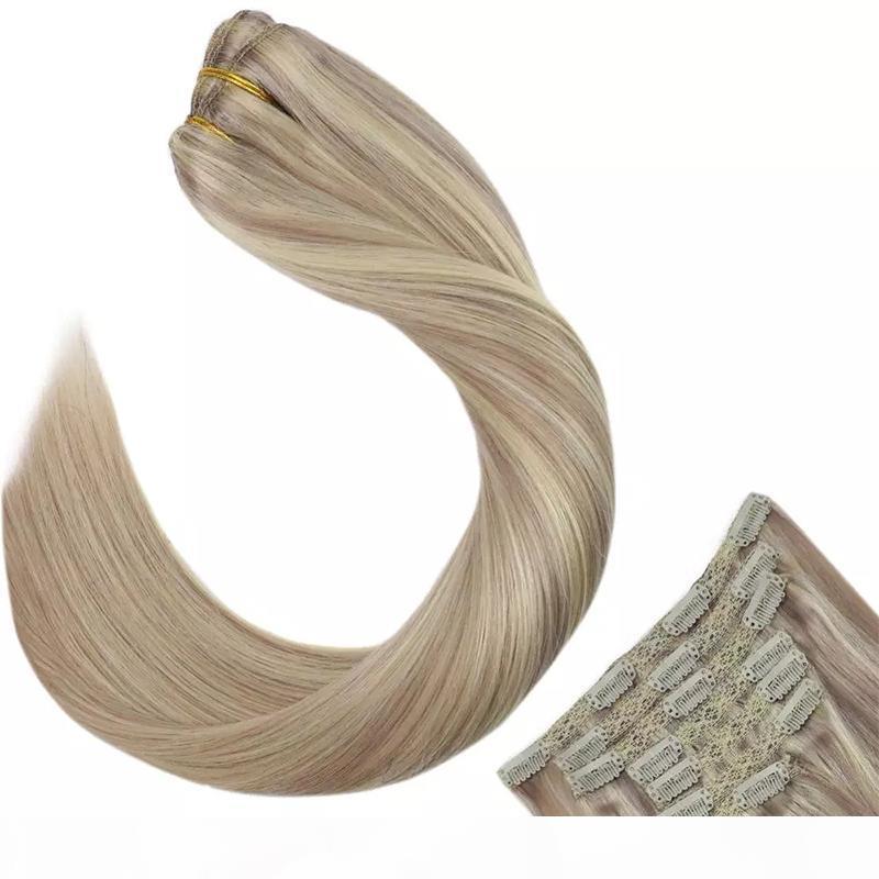 Клип человеческих волос в наращиваниях волос бразильский девственница прямой клип в наращивание волос человека 18P613 7 шт. Набор 14-24 дюйма