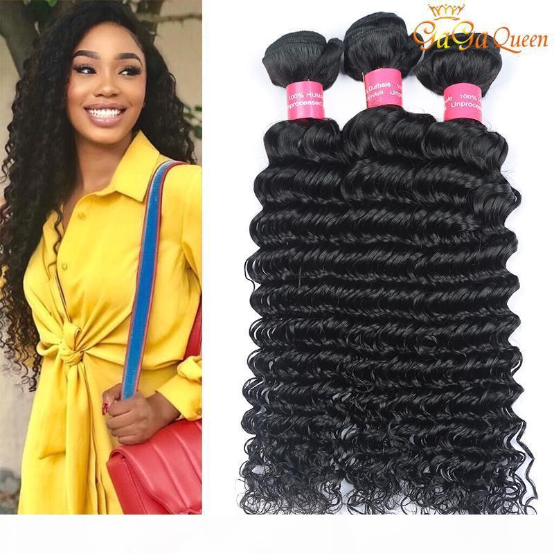 Pacotes de cabelo virgem de onda profunda indiana não processada onda profunda indiana encaracolado cabelo humano extensões gaga rainha