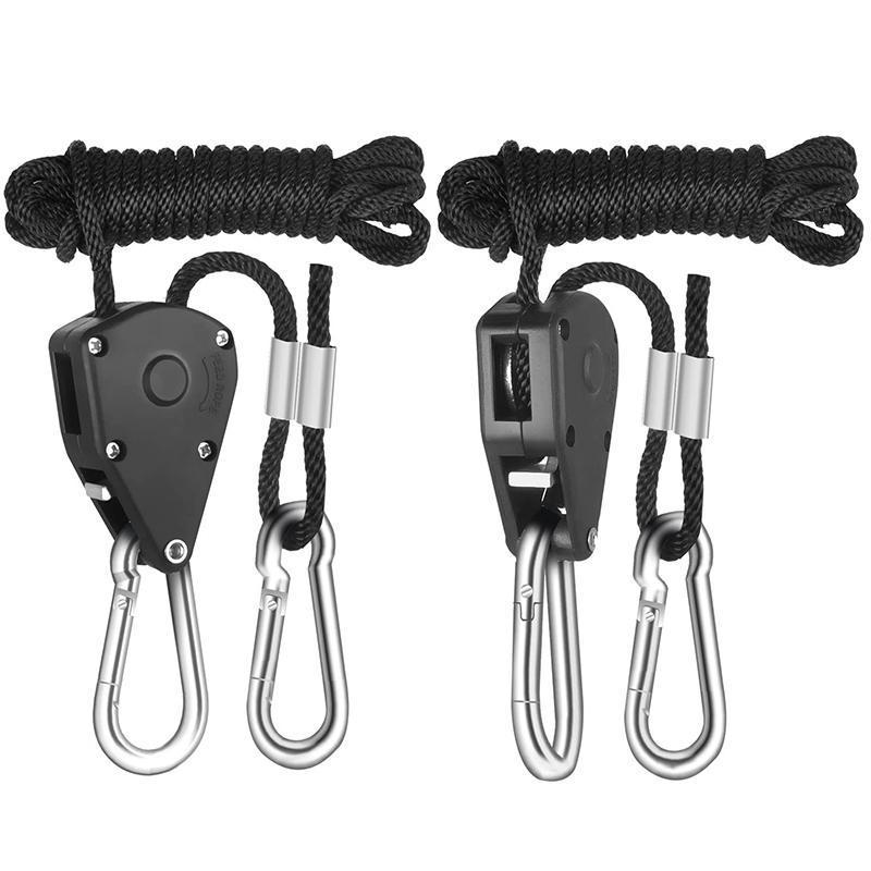 1-Pair 1/8 Inch 8-Feet Long Heavy Duty Adjustable Rope Clip Hanger Reinforced Metal Internal Gears, Black