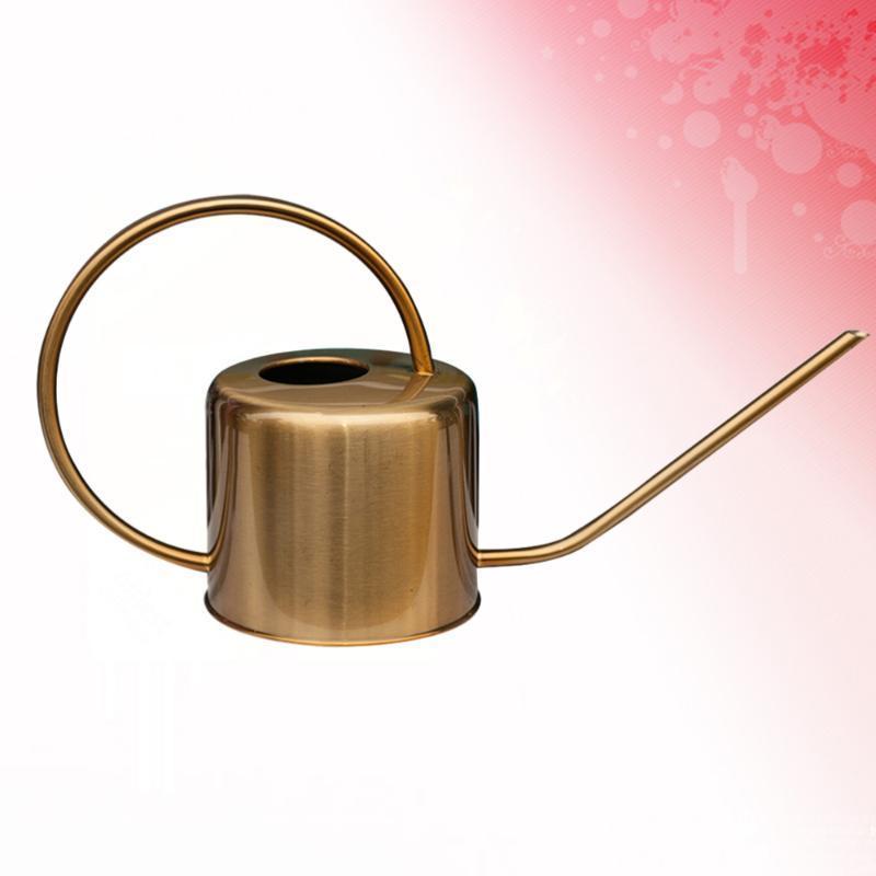 1 pc plantas regador lata de aço inoxidável longa spout suculentos suculentos regando ferramenta de jardinagem de chaleira (dourado)