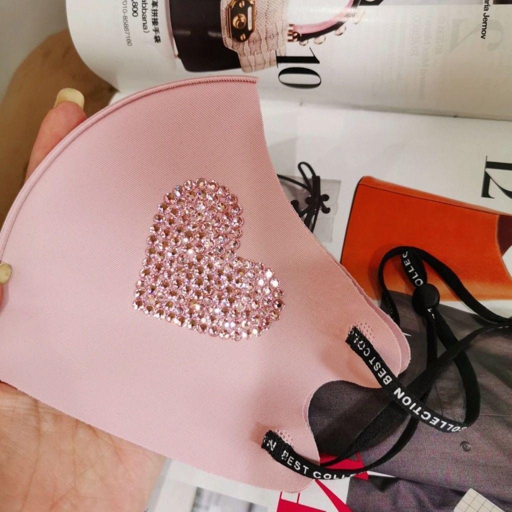Yapışkan Kore versiyonunun saf kalp baskı el yapımı parlak elmas şeftali kalp buz ipek co jysm