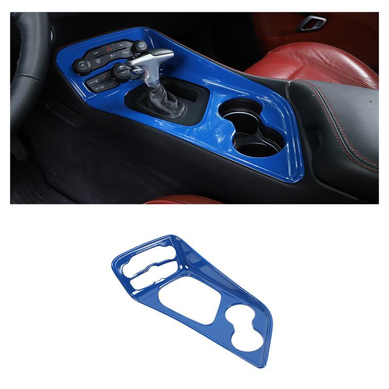 Blaue ABS-Gang-Umschalttafel-Verkleidungs-Deckungsabdeckung für Dodge Challenger 2015 Up Auto Interior Zubehör,