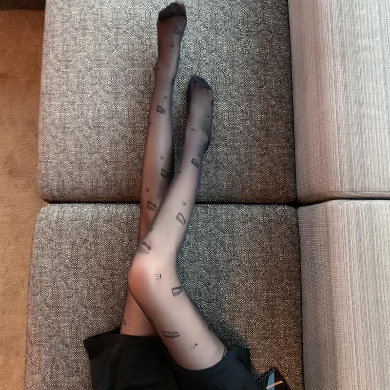 Herbst und Winter Sexy Perspektive LipPrint Bein BLA Seide dünne bodened Frauen Strumpfhosen SOS