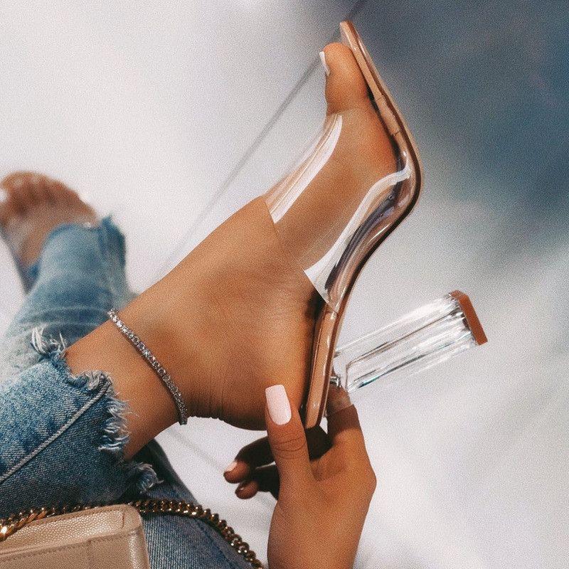 Новые женские сандалии PVC Jelly Crystal каблука прозрачные женщины сексуальные четкие высокие каблуки летние сандалии обувь