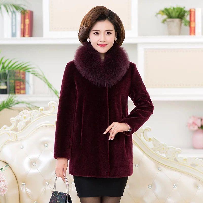 Mulheres Faux Feminina Mulheres 2021 Inverno Real Casaco Casaco Feminino Collar Natural Genuine Lã Outerwear Engrossar Overcoats Quentes S614