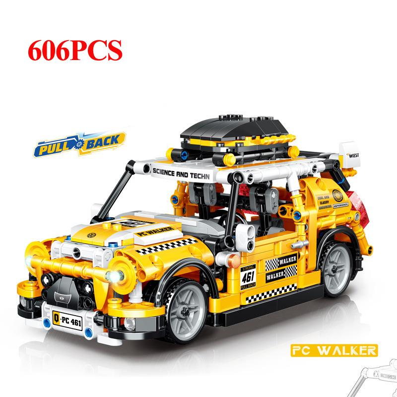 606 шт. Вытянуть обратно автомобиль технические строительные блоки внедорожники кирпичи кирпичи создатель механический город детей игрушки для мальчика подарок J1204