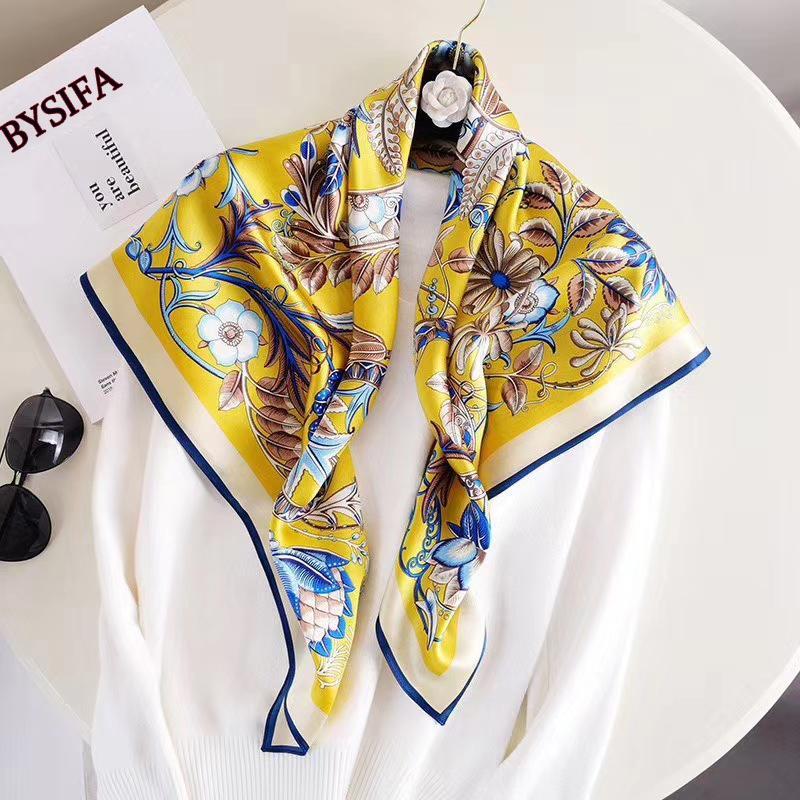 [Bysifa] limão amarelo puro seda quadrado lenço xaile mulheres lenços florais envoltam 2020 outono inverno novo pescoço lenços hijabs 90 * 90cm j1215