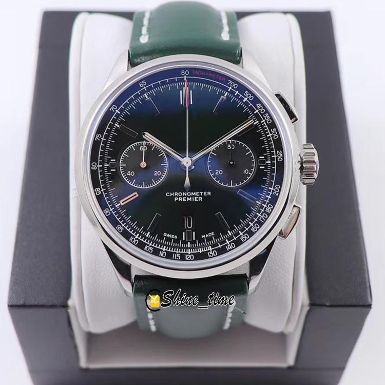 GF Premier B01 Cronógrafo Green Dial 316L Funda de acero AB0118A11L1X1 ETA A7750 Cronógrafo Reloj automático para hombre Correa de cuero Relojes deportivos