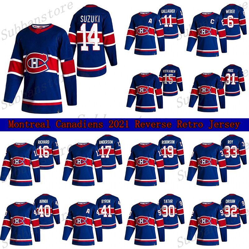 Montreal Canadiens 2021 Ters Retro Jersey 14 Nick Suzuki 6 Shea Weber 31 Carey Fiyat 11 Brendan Gallagher 15 Kotkaniemi Hokey Formaları