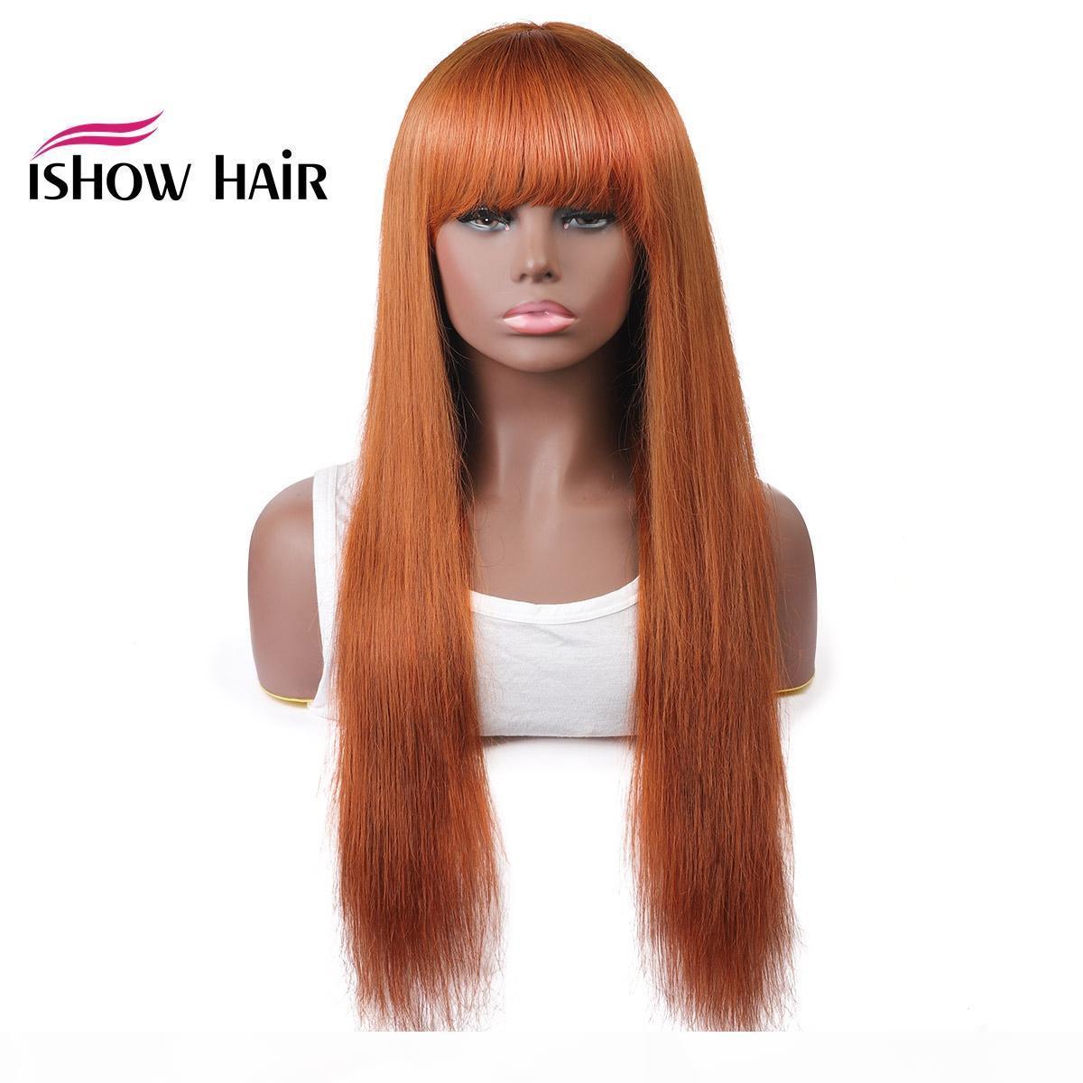 Ishow Saç Brezilyalı 4 27 Düz İnsan Saç Peruk Bangs 27 # 30 # 99J Turuncu Ginger Perulu Yok Dantel Peruk Hint Saç Malezya