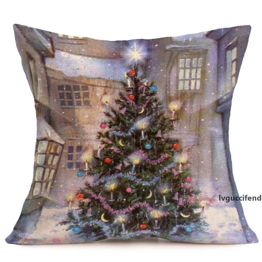 Funda de almohada impresa cuadrada 45 * 45 Feliz Navidad Ropa de almohada Cajas de almohada Sofá CUBIERTE CUBIERTA Decoración del hogar Envío gratis Nuevo