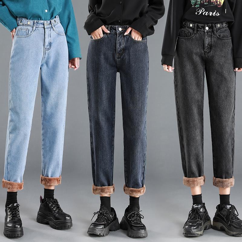 Straight High Waist Jeans Women Winter Fur Fleece Denim Pants 2020 Boyfriend Mom Jeans Chic Streetwear Plus Size Retro