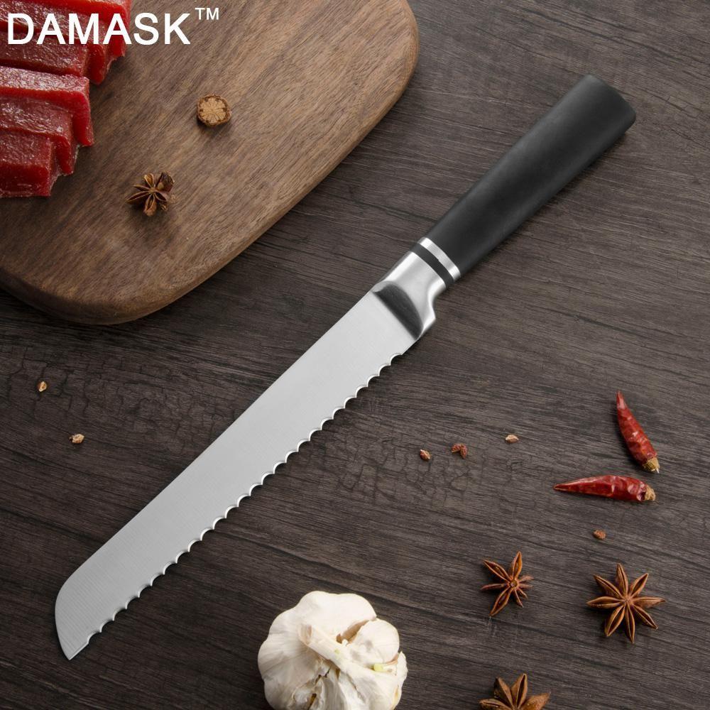 Damasco Bragente per pane in acciaio inox di alta qualità 3Cr13 rasoio Sharp Giappone Coltelli da cucina Set Chef SANTOKU Utility Coltello da cucina