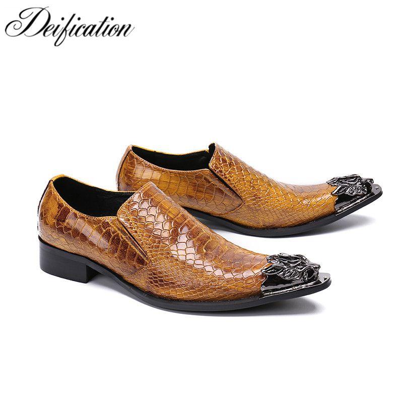 Hot Sale-Vergöttlichung Luxus Metall spitzes Zehe-Geschäft-formale Schuhe Herren Wohnungen Slip-On Brown Lederschuhe Mode Kleid Schuhe für Männer