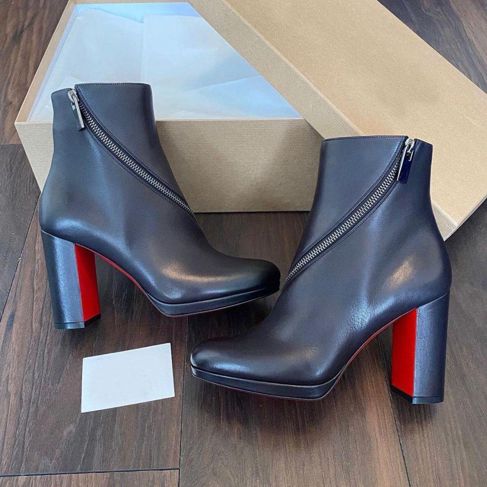 Designer di lusso scarpe invernali stivali invernali rossi suole birgitta bottino donna rosso fondo caviglia boots con zip elegante signora stivaletti vestito partito EU35-43