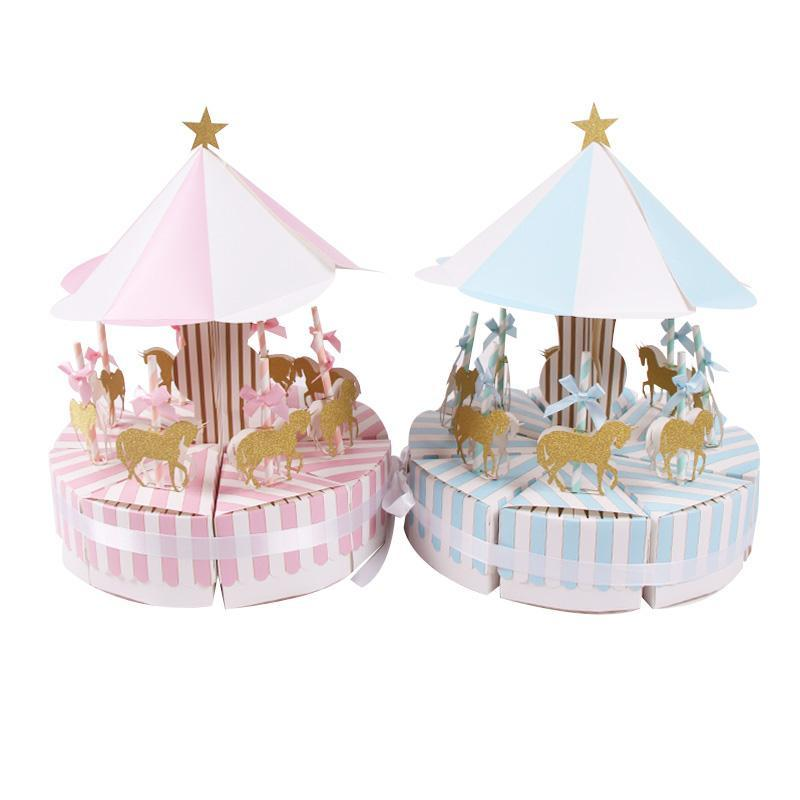 Regalo wrap 8pcs / set carosello scatola di carta partito animale partito baby shower caramelle decorazioni compleanno per bambini regali forniture