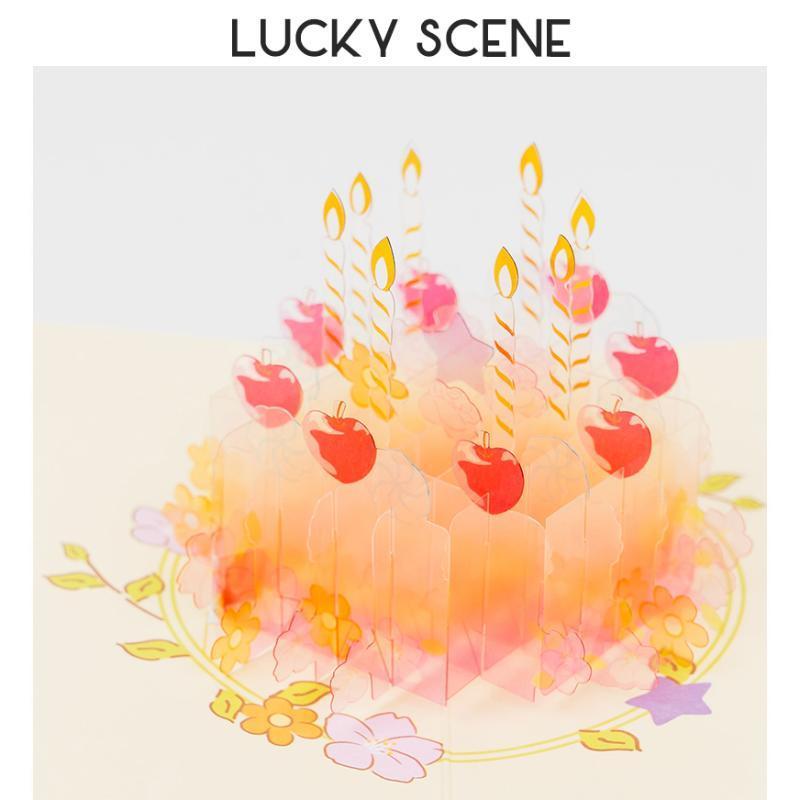 3D-Geburtstagstorte-Gruß-Karte transparentes faltendes schönes zartes Geschenk S01116