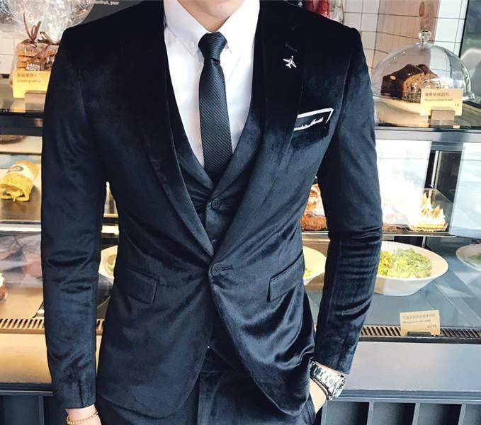 Siyah Kadife smokin ceket + yelek + pantolon 2.020 yeni son kat pantolon tero ince uygun şık bir düğün erkekler takım elbise erkek kadife takım elbise tasarımları