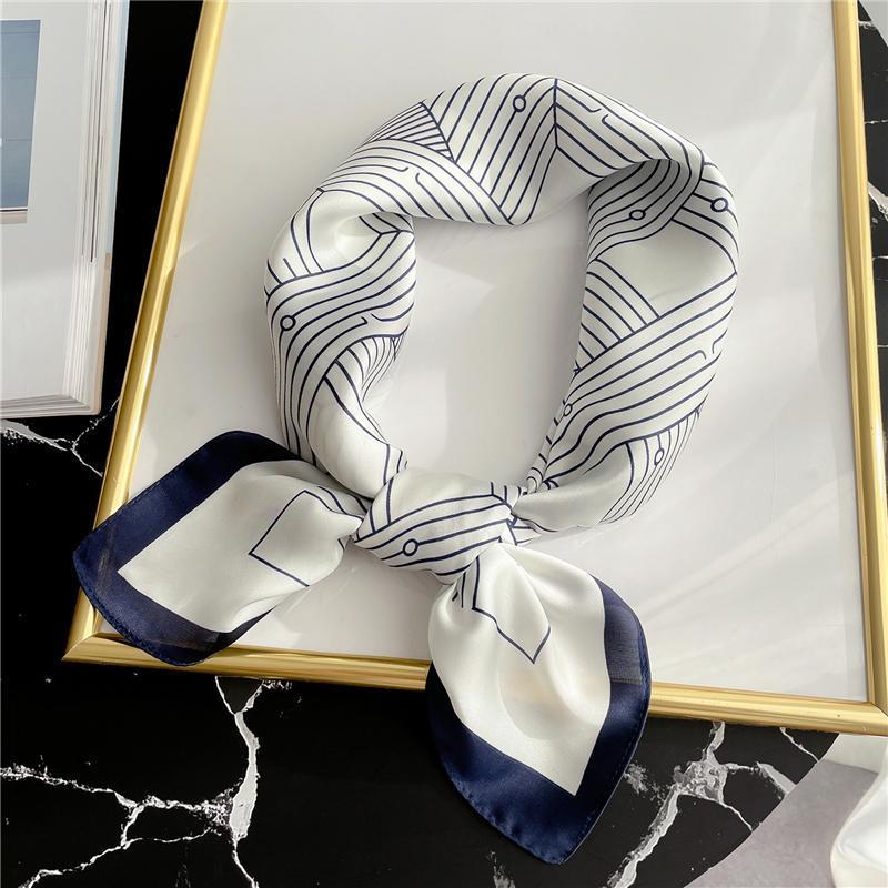 Verano mujeres bandana seda cuadrada bufanda impresión pequeño cuello hola chal moda lady wraps femenino pañuelos bufandas 2021 Nuevo