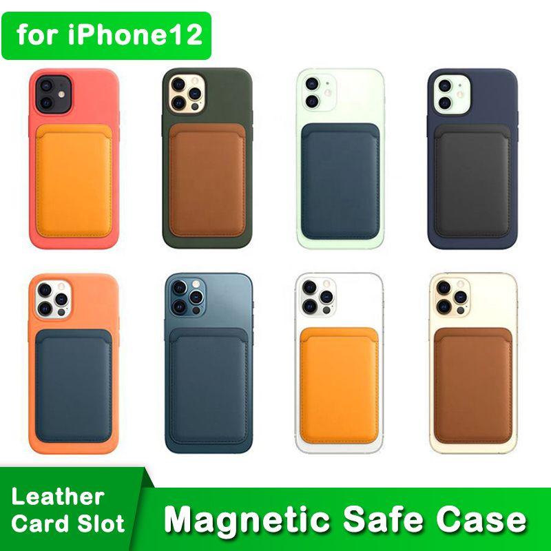 Bolsa de cartão de carteira de couro magnético de couro genuíno para iPhone 12 mini 12 Pro Max telefone Magsafe Case pacote com logotipo