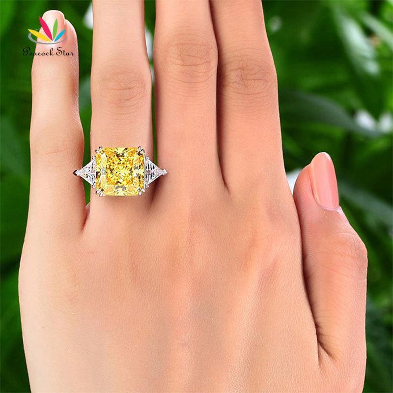 Peacock Estrela sólido prata esterlina 925 três-pedra de Luxo Ring 8 Carat Yellow Canary Criado Diamante CFR8157 201118