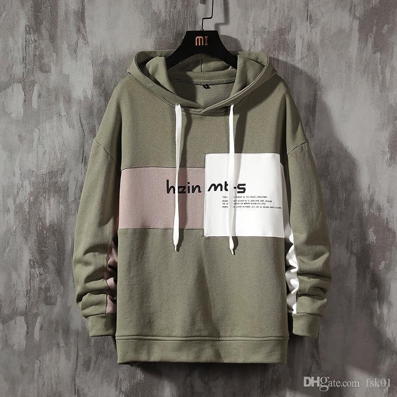 2020 Autumn Spring Patchwork Black Green Hoodies MEN'S Sweatshirts Hip Hop Punk Streetwear Casual Pullover