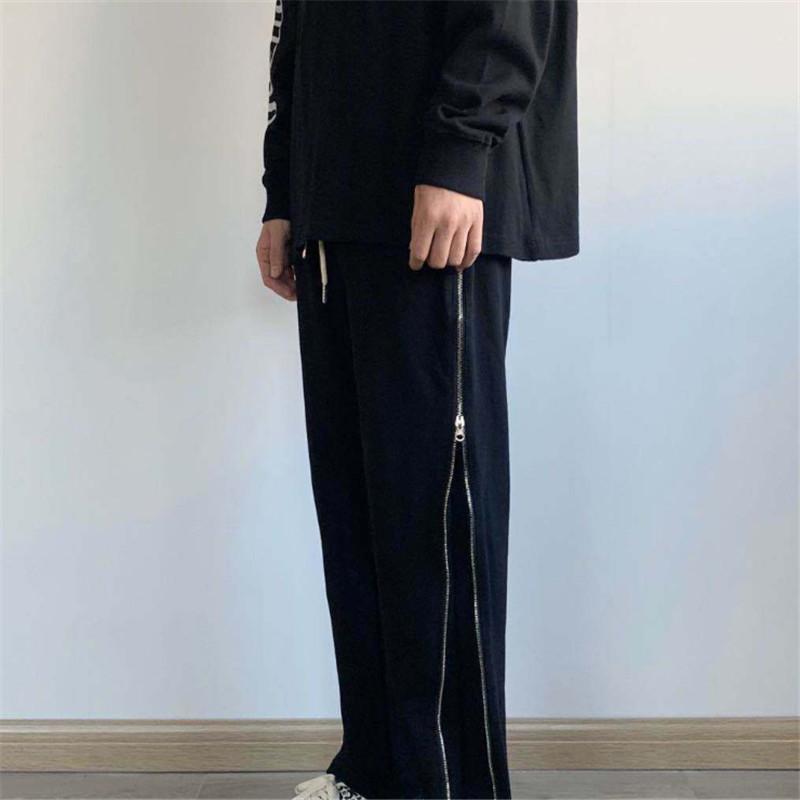 High Street Stil Herbst Neue Männer und Frauen Gerade Reißverschluss Hosen Beliebte Grundmuster Hip Hop Hosen Baumwolle Reine Farbe Schwarzer Größe S-XL