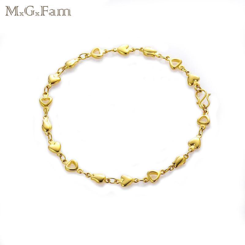MGFAM (21 cm * 5mm) 24 K Pulseras de colores de color dorado puro para Lady Lovely Style Lead y Nickel Free