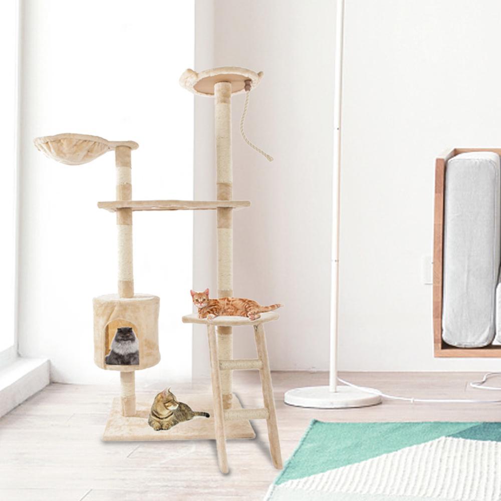 60 дюймов Cat Tower House Сплошная милая сизальская каната плюшевая кошка подъемное дерево кошка Pet Toy играют упражнения башня бежевый корабль из США